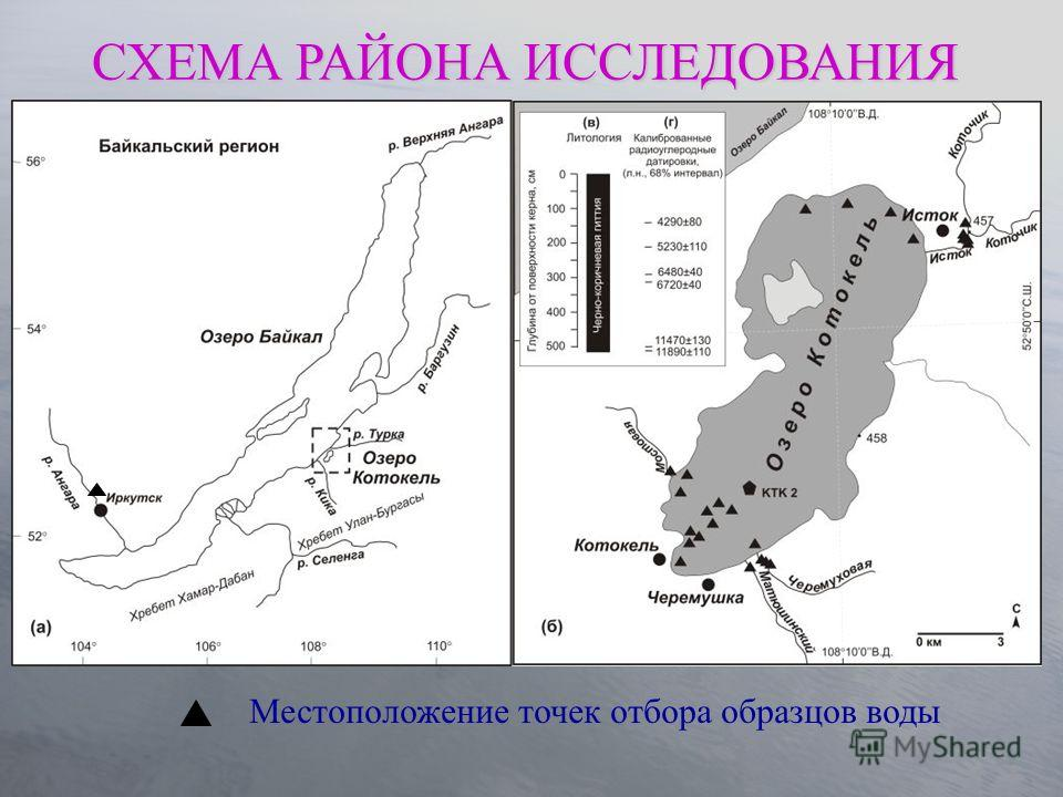 Местоположение точек отбора образцов воды СХЕМА РАЙОНА ИССЛЕДОВАНИЯ