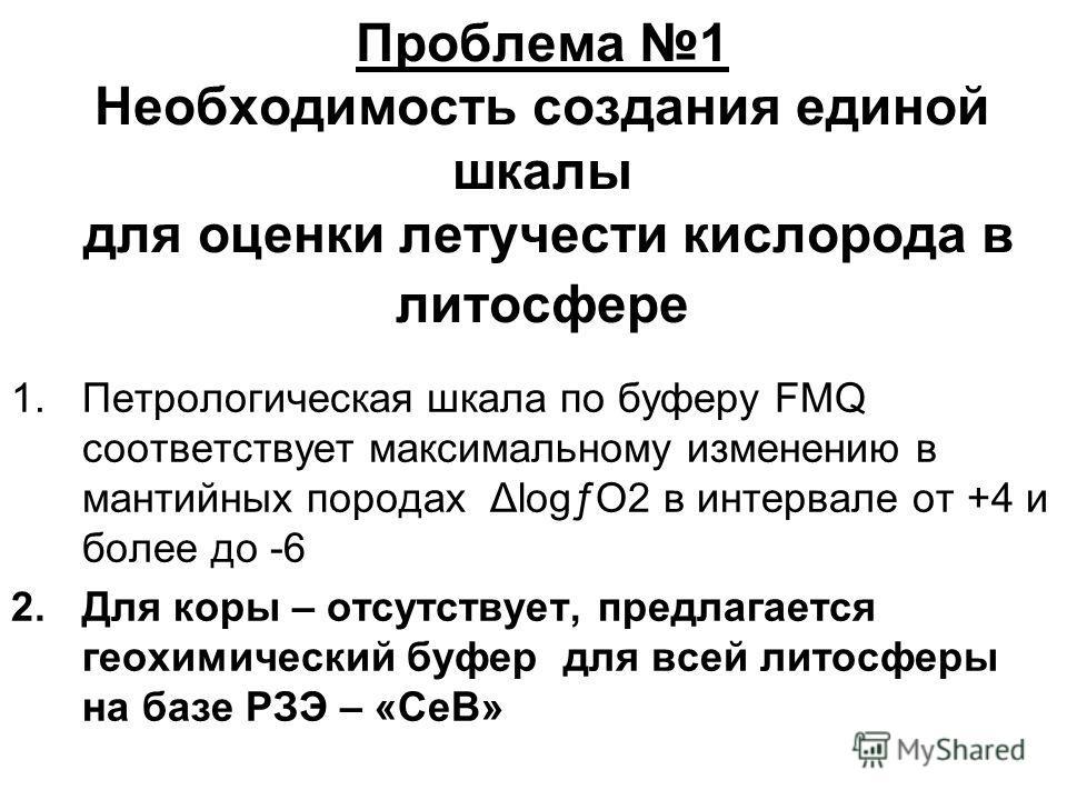Проблема 1 Необходимость создания единой шкалы для оценки летучести кислорода в литосфере 1.Петрологическая шкала по буферу FMQ соответствует максимальному изменению в мантийных породах ΔlogƒO2 в интервале от +4 и более до -6 2.Для коры – отсутствует