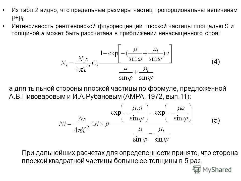 Из табл.2 видно, что предельные размеры частиц пропорциональны величинам μ+μ i. Интенсивность рентгеновской флуоресценции плоской частицы площадью S и толщиной a может быть рассчитана в приближении ненасыщенного слоя: а для тыльной стороны плоской ча