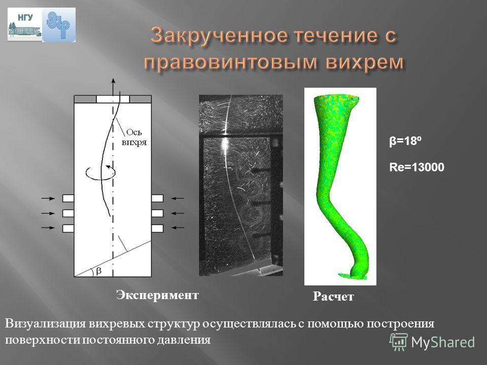 Эксперимент Расчет β=18º Re=13000 Визуализация вихревых структур осуществлялась с помощью построения поверхности постоянного давления