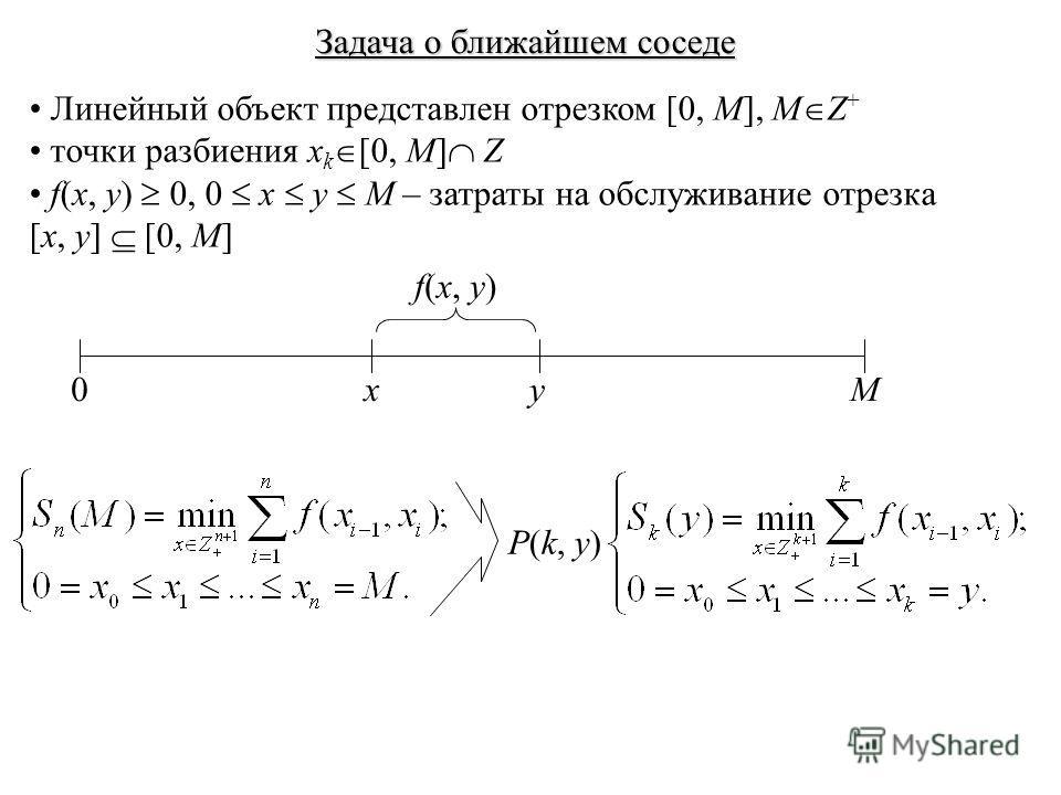 Задача о ближайшем соседе Линейный объект представлен отрезком [0, M], M Z + точки разбиения x k [0, M] Z f(x, y) 0, 0 x y M – затраты на обслуживание отрезка [x, y] [0, M] 0Mxy f(x, y) P(k, y)
