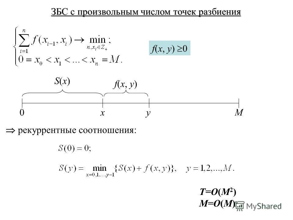 ЗБС с произвольным числом точек разбиения f(x, y) 0 0Mxy f(x, y) S(x)S(x) рекуррентные соотношения: T=O(M 2 ) M=O(M)