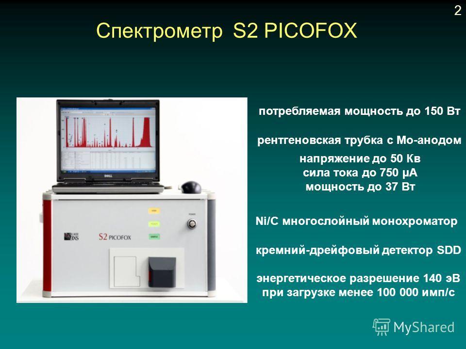 Cпектрометр S2 PICOFOX потребляемая мощность до 150 Вт рентгеновская трубка с Mo-анодом напряжение до 50 Кв сила тока до 750 µA мощность до 37 Вт кремний-дрейфовый детектор SDD энергетическое разрешение 140 эВ при загрузке менее 100 000 имп/с Ni/C мн