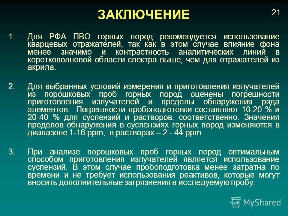 ЗАКЛЮЧЕНИЕ 1.Для РФА ПВО горных пород рекомендуется использование кварцевых отражателей, так как в этом случае влияние фона менее значимо и контрастность аналитических линий в коротковолновой области спектра выше, чем для отражателей из акрила. 2.Для
