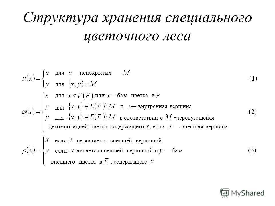 Структура хранения специального цветочного леса для если непокрытых или база цветка в и внутренняя вершина в соответствии с чередующейся декомпозицией цветка содержащего x, если x внешняя вершина не является внешней вершиной является внешней вершиной