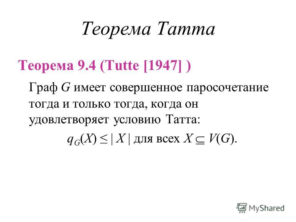 Теорема Татта Теорема 9.4 (Tutte [1947] ) Граф G имеет совершенное паросочетание тогда и только тогда, когда он удовлетворяет условию Татта: q G (X) | X | для всех X V(G).