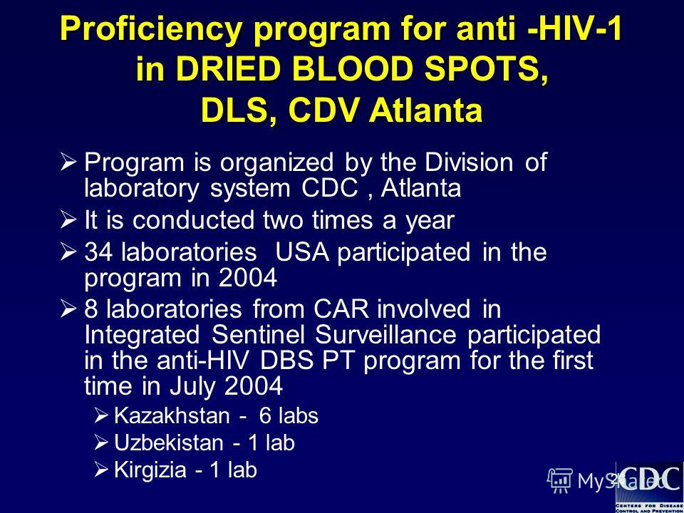 26 Proficiency program for anti -HIV-1 in DRIED BLOOD SPOTS, DLS, CDV Atlanta Program is organized by the Division of laboratory system СDC, Atlanta It is conducted two times a year 34 laboratories USA participated in the program in 2004 8 laboratori