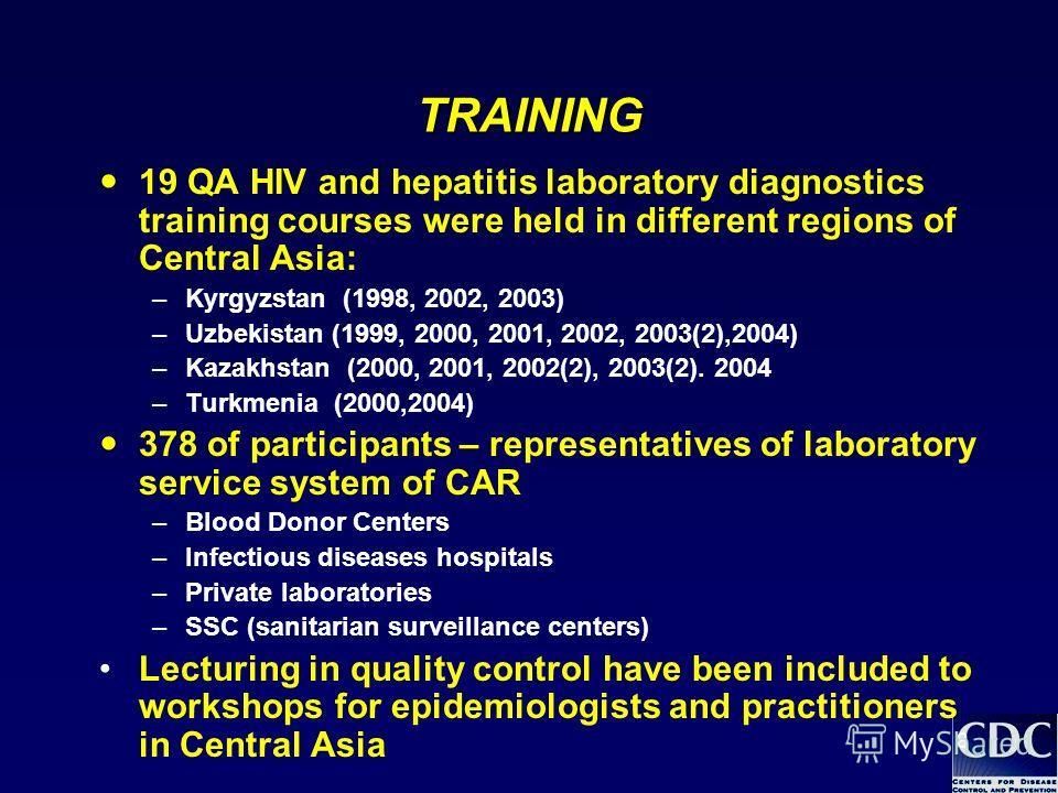 8 TRAINING 19 QA HIV and hepatitis laboratory diagnostics training courses were held in different regions of Central Asia: –Kyrgyzstan (1998, 2002, 2003) –Uzbekistan (1999, 2000, 2001, 2002, 2003(2),2004) –Kazakhstan (2000, 2001, 2002(2), 2003(2). 20