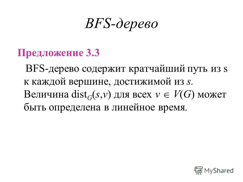 BFS-дерево Предложение 3.3 BFS-дерево содержит кратчайший путь из s к каждой вершине, достижимой из s. Величина dist G (s,v) для всех v V(G) может быть определена в линейное время.
