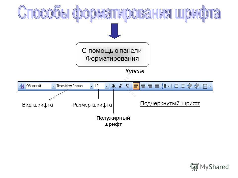 С помощью панели Форматирования Вид шрифтаРазмер шрифта Курсив Полужирный шрифт Подчеркнутый шрифт