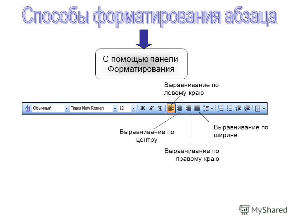 С помощью панели Форматирования Выравнивание по левому краю Выравнивание по центру Выравнивание по правому краю Выравнивание по ширине
