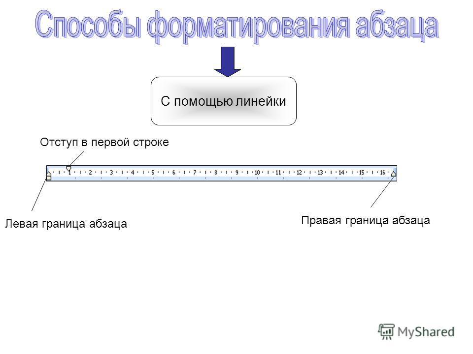 С помощью линейки Левая граница абзаца Правая граница абзаца Отступ в первой строке