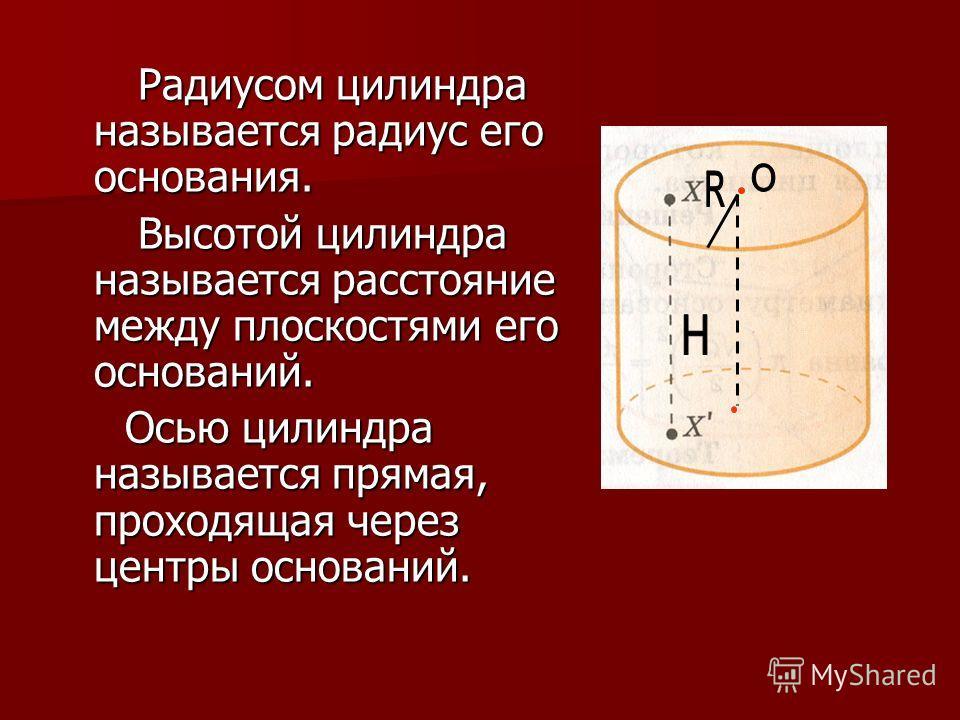 Радиусом цилиндра называется радиус его основания. Радиусом цилиндра называется радиус его основания. Высотой цилиндра называется расстояние между плоскостями его оснований. Высотой цилиндра называется расстояние между плоскостями его оснований. Осью