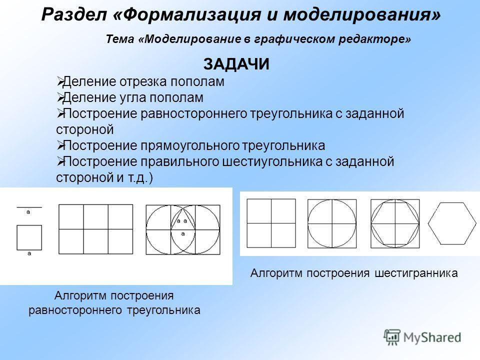 Раздел «Формализация и моделирования» Тема «Моделирование в графическом редакторе» ЗАДАЧИ Деление отрезка пополам Деление угла пополам Построение равностороннего треугольника с заданной стороной Построение прямоугольного треугольника Построение прави
