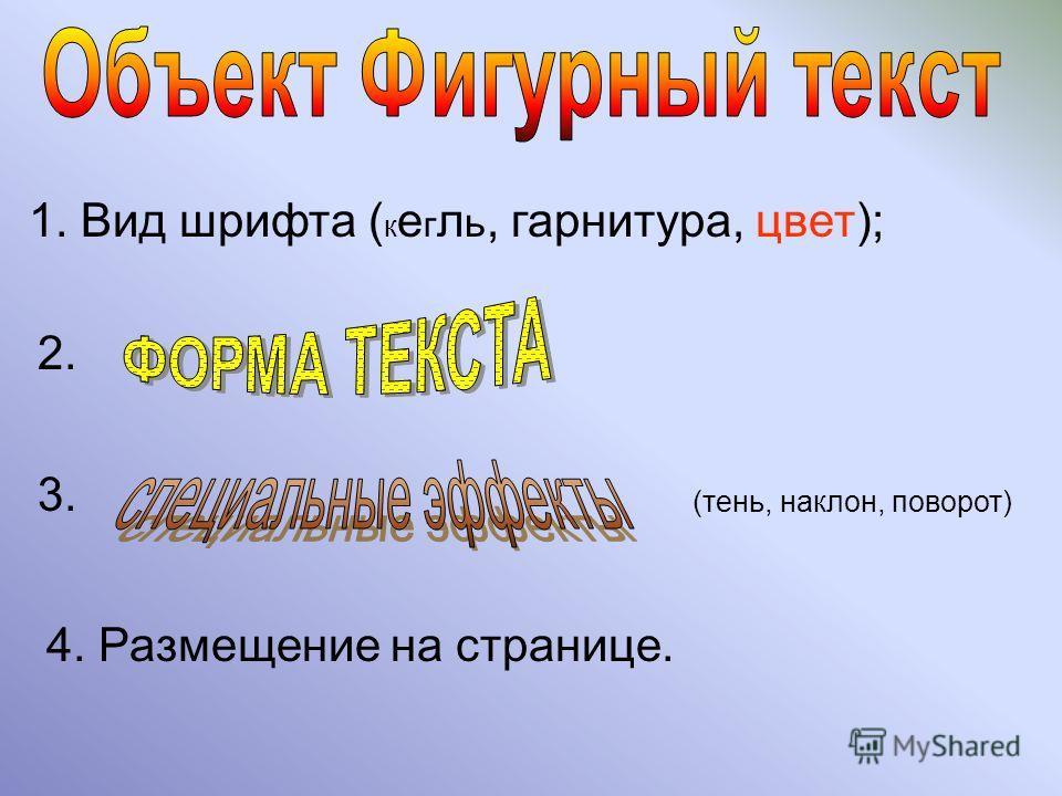 1. Вид шрифта ( к е г л ь, гарнитура, цвет); 2. 3. (тень, наклон, поворот) 4. Размещение на странице.