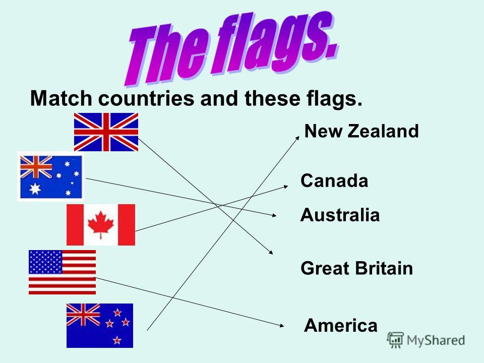 Match countries and these flags. New Zealand Canada Australia Great Britain America