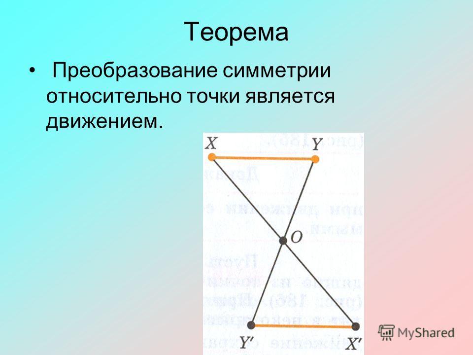 Теорема Преобразование симметрии относительно точки является движением.