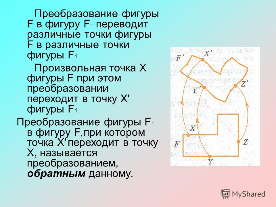 Преобразование фигуры F в фигуру F 1 переводит различные точки фигуры F в различные точки фигуры F 1. Произвольная точка Х фигуры F при этом преобразовании переходит в точку Х' фигуры F 1. Преобразование фигуры F 1 в фигуру F, при котором точка Х' пе