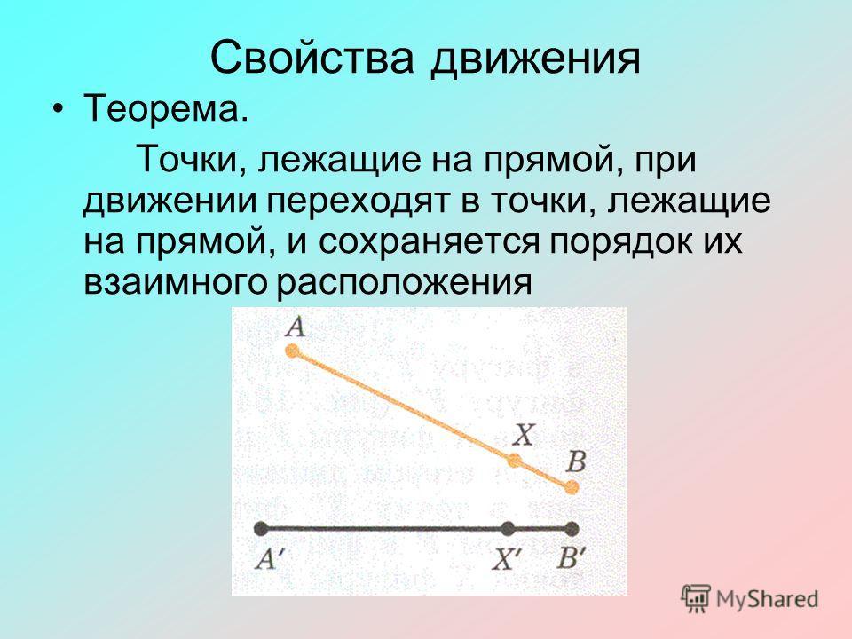 Свойства движения Теорема. Точки, лежащие на прямой, при движении переходят в точки, лежащие на прямой, и сохраняется порядок их взаимного расположения