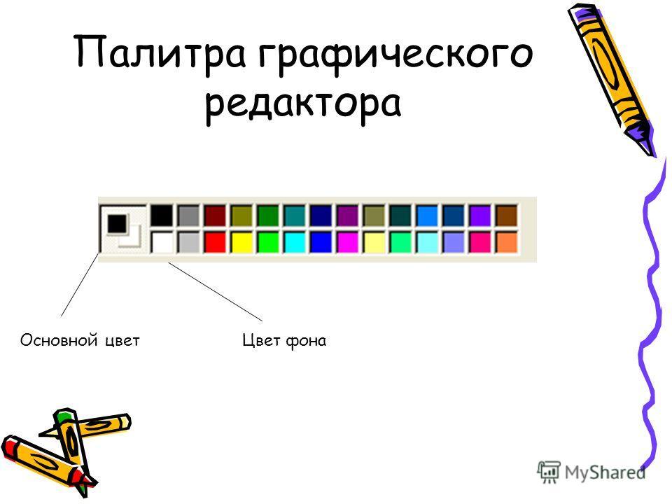 Палитра графического редактора Основной цветЦвет фона