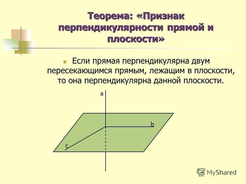 Теорема: «Признак перпендикулярности прямой и плоскости» Если прямая перпендикулярна двум пересекающимся прямым, лежащим в плоскости, то она перпендикулярна данной плоскости. a b c
