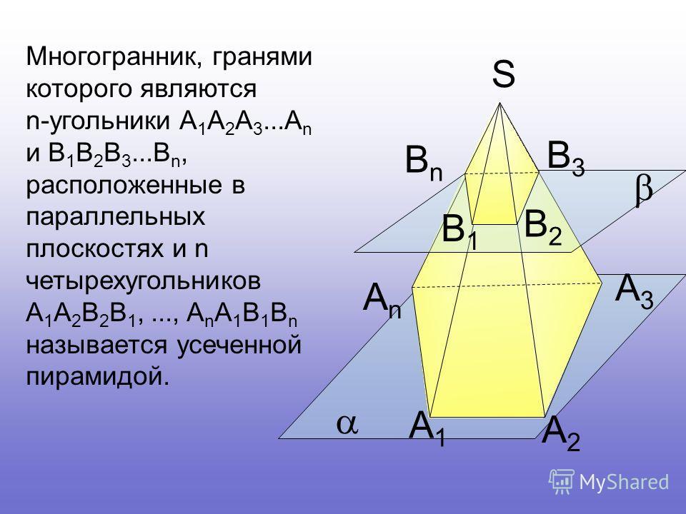 А1А1 А2А2 А3А3 АnАn В1В1 В2В2 В3В3 ВnВn S Многогранник, гранями которого являются n-угольники А 1 А 2 А 3...А n и В 1 В 2 В 3...В n, расположенные в параллельных плоскостях и n четырехугольников А 1 А 2 В 2 В 1,..., A n A 1 В 1 В n называется усеченн