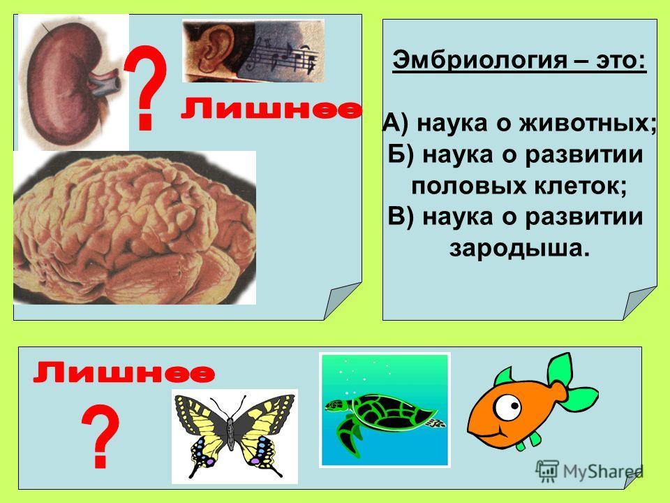 Эмбриология – это: А) наука о животных; Б) наука о развитии половых клеток; В) наука о развитии зародыша.