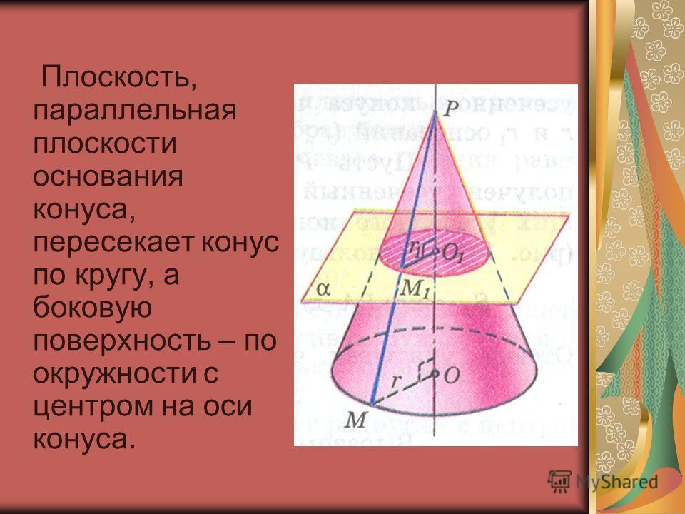 Плоскость, параллельная плоскости основания конуса, пересекает конус по кругу, а боковую поверхность – по окружности с центром на оси конуса.