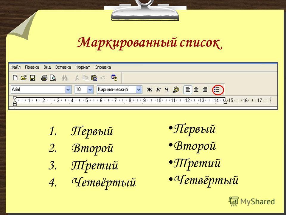 Маркированный список Первый Второй Третий Четвёртый 1.Первый 2.Второй 3.Третий 4.Четвёртый