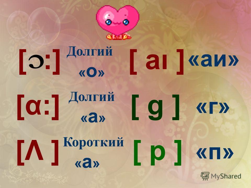 :][ [α:] [Λ ] [ aı ] [ g ] [ p ] «аи» «г» «п» Долгий « о » Долгий « а » Короткий « а »