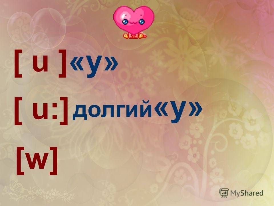 [ u ] [ u:] [w][w] «у» долгий «у»