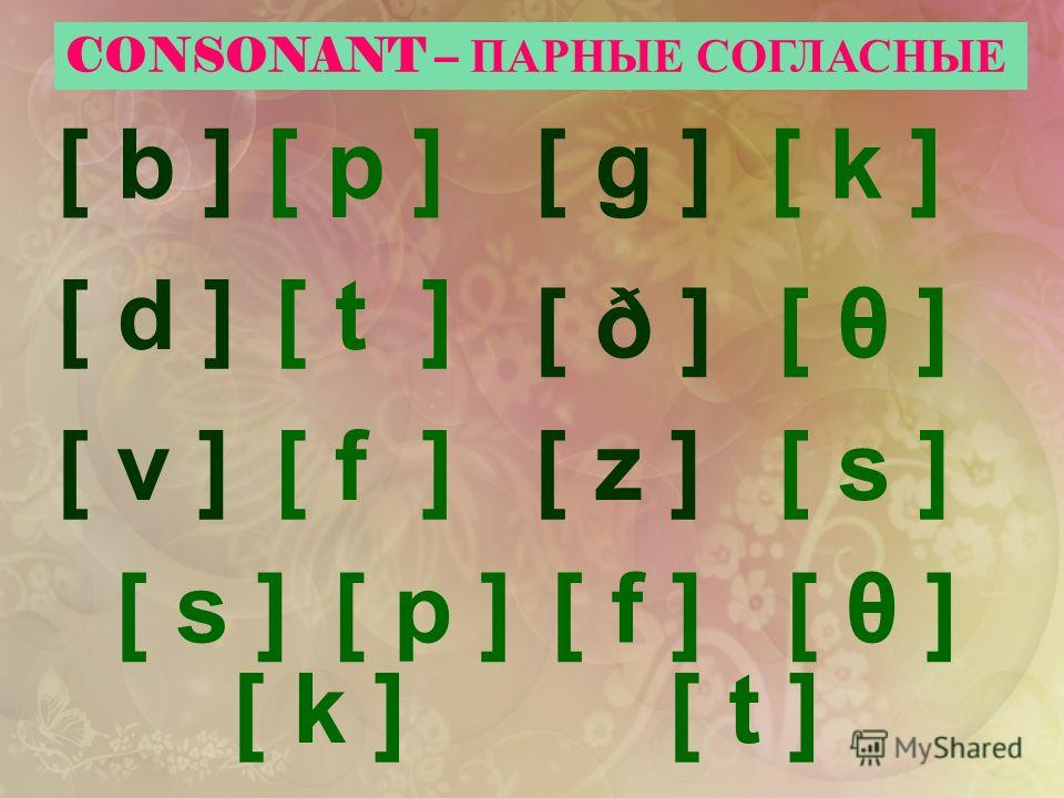 CONSONANT – ПАРНЫЕ СОГЛАСНЫЕ [ b ] [ d ] [ z ][ v ] [ g ] [ ð ][ ð ] [ s ][ p ][ f ][ θ ] [ k ][ t ] [ p ] [ t ] [ f ] [ k ] [ θ ] [ s ]