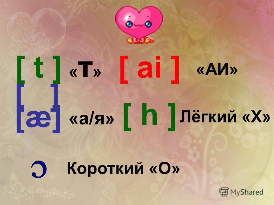 [ t ][ ai ] [æ] [ ] [ h ] «т»«т» «а/я» Короткий «О» «AИ» Лёгкий «Х»