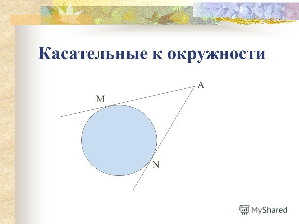 Касательные к окружности А N М
