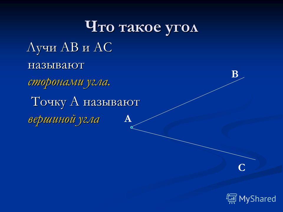Лучи АВ и АС называют сторонами угла. Точку А называют вершиной угла А В С