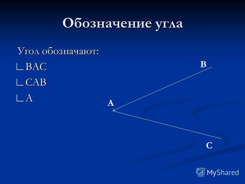 Обозначение угла Угол обозначают: ВАС САВ А А В С