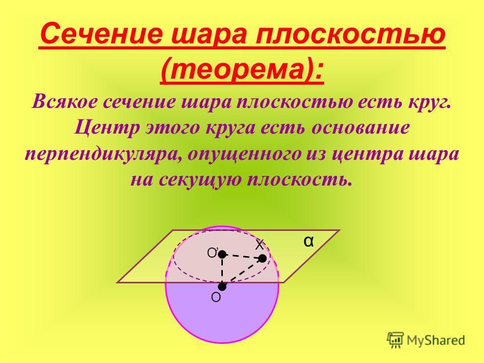 Сечение шара плоскостью (теорема): Всякое сечение шара плоскостью есть круг. Центр этого круга есть основание перпендикуляра, опущенного из центра шара на секущую плоскость. α O Ơ Х