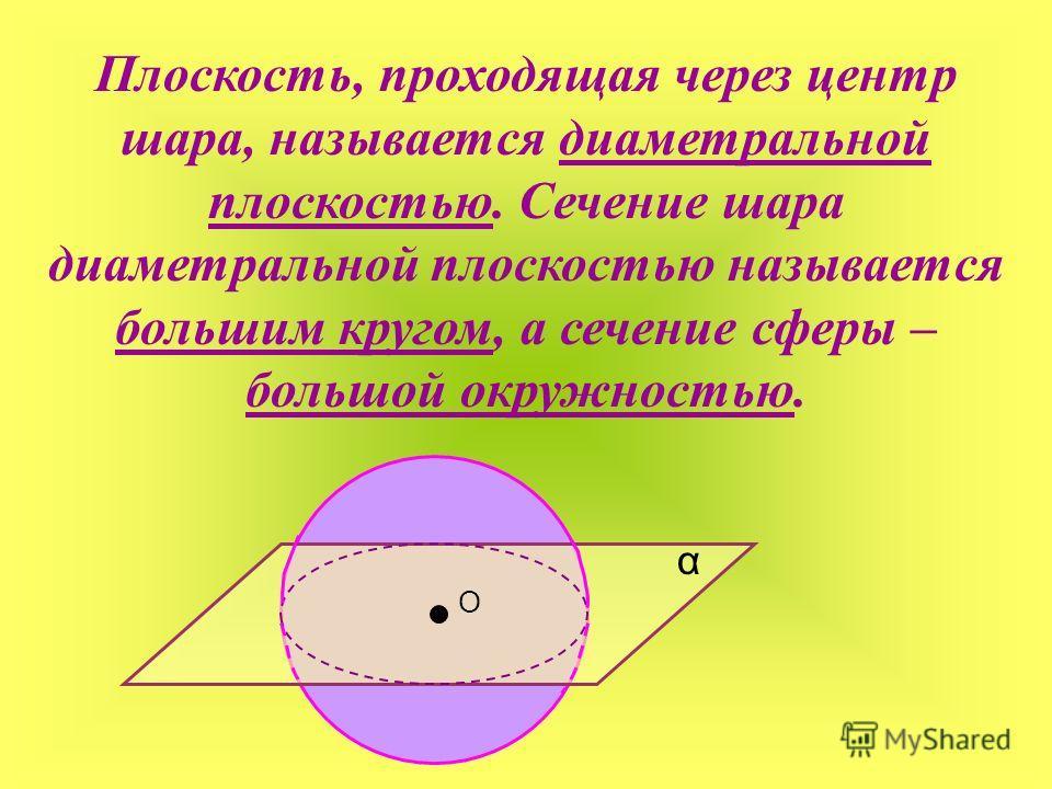Плоскость, проходящая через центр шара, называется диаметральной плоскостью. Сечение шара диаметральной плоскостью называется большим кругом, а сечение сферы – большой окружностью. О α