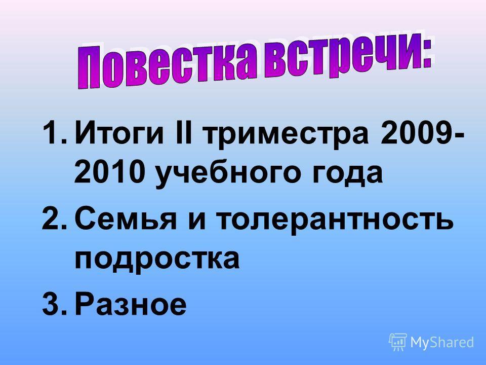 1.Итоги II триместра 2009- 2010 учебного года 2.Семья и толерантность подростка 3.Разное