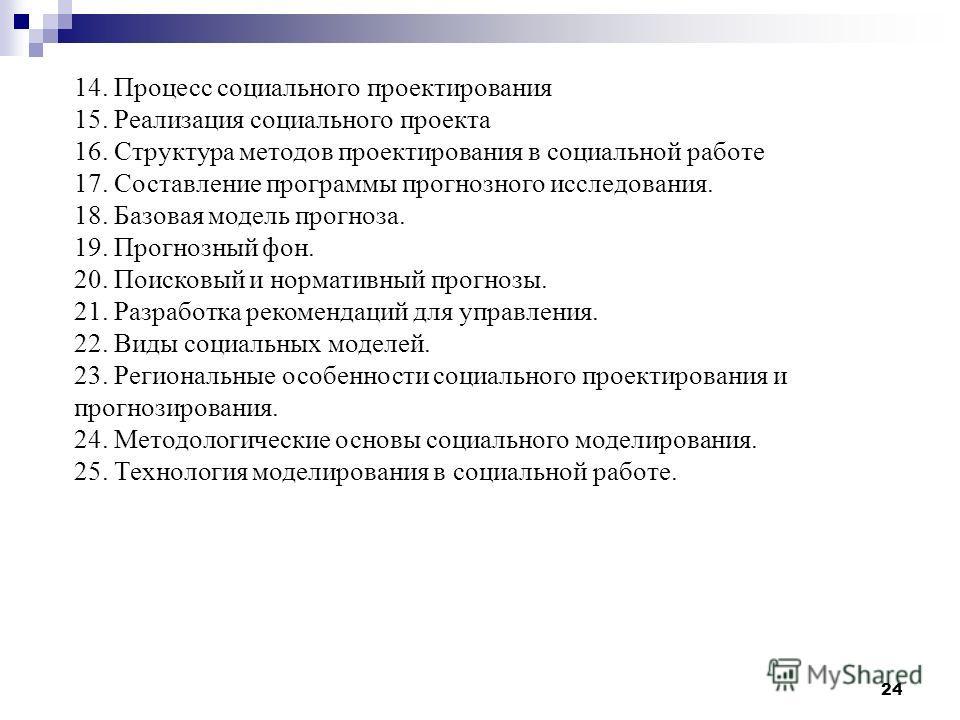 24 14. Процесс социального проектирования 15. Реализация социального проекта 16. Структура методов проектирования в социальной работе 17. Составление программы прогнозного исследования. 18. Базовая модель прогноза. 19. Прогнозный фон. 20. Поисковый и