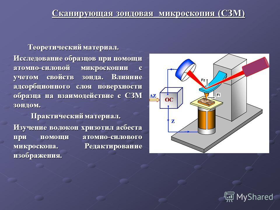 Теоретический материал. Теоретический материал. Исследование образцов при помощи атомно-силовой микроскопии с учетом свойств зонда. Влияние адсорбционного слоя поверхности образца на взаимодействие с СЗМ зондом. Практический материал. Изучение волоко