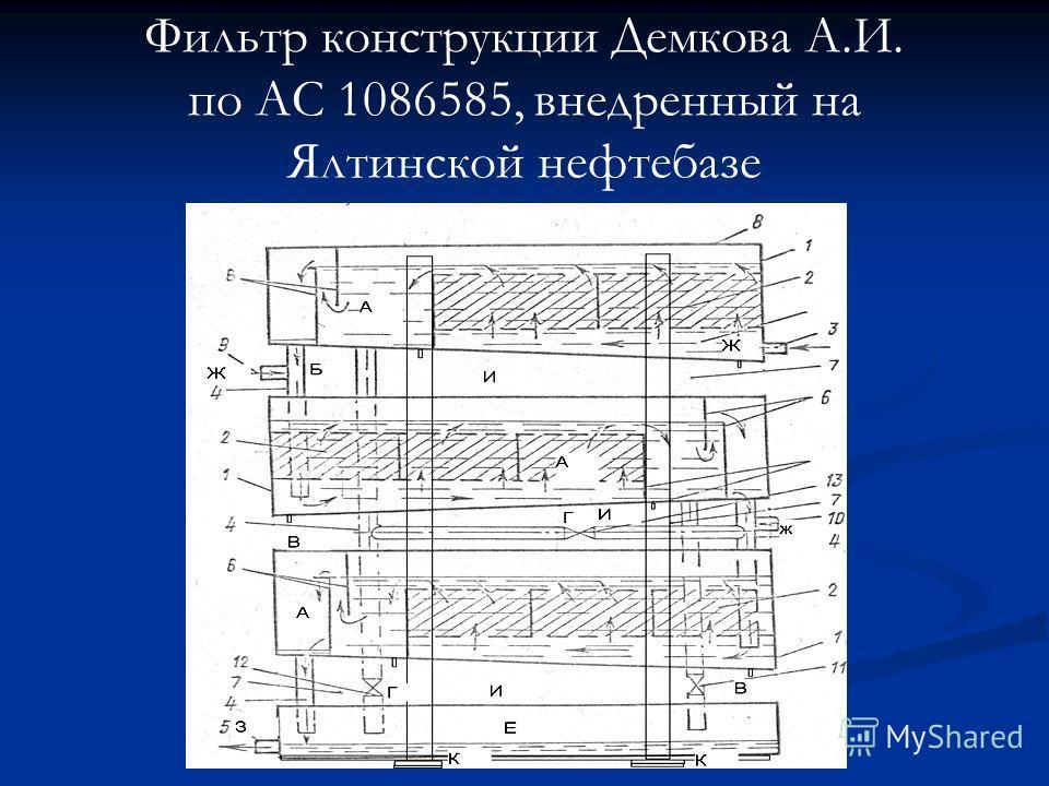 Фильтр конструкции Демкова А.И. по АС 1086585, внедренный на Ялтинской нефтебазе