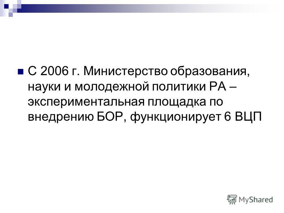 С 2006 г. Министерство образования, науки и молодежной политики РА – экспериментальная площадка по внедрению БОР, функционирует 6 ВЦП