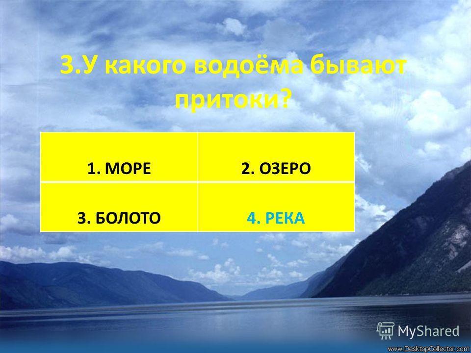 3.У какого водоёма бывают притоки? 1.МОРЕ2. ОЗЕРО 3. БОЛОТО4. РЕКА