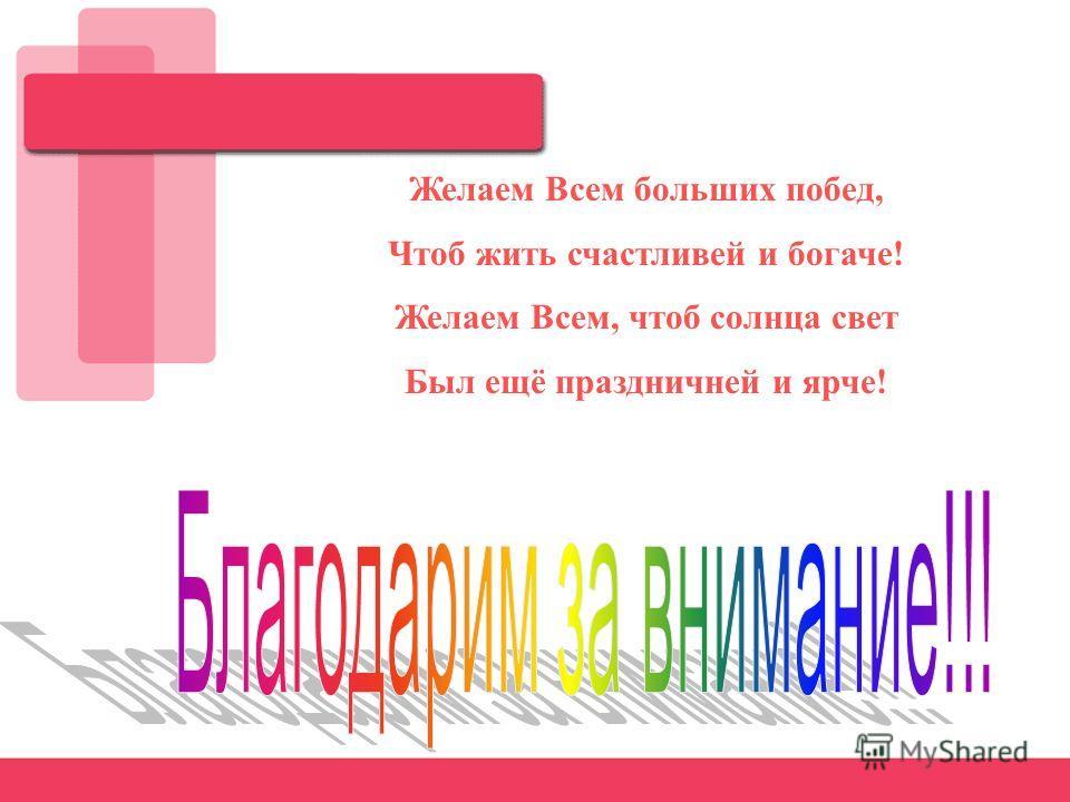 Желаем Всем больших побед, Чтоб жить счастливей и богаче! Желаем Всем, чтоб солнца свет Был ещё праздничней и ярче!