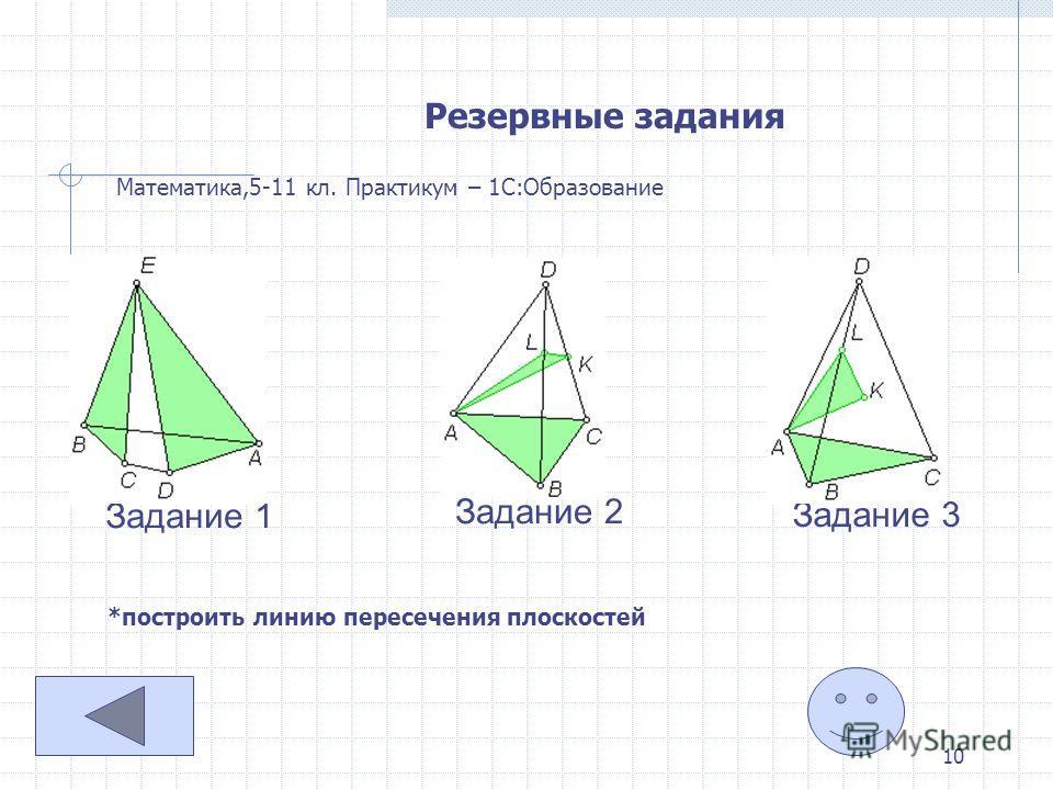 10 Резервные задания Математика,5-11 кл. Практикум – 1С:Образование Задание 1 Задание 2 Задание 3 *построить линию пересечения плоскостей