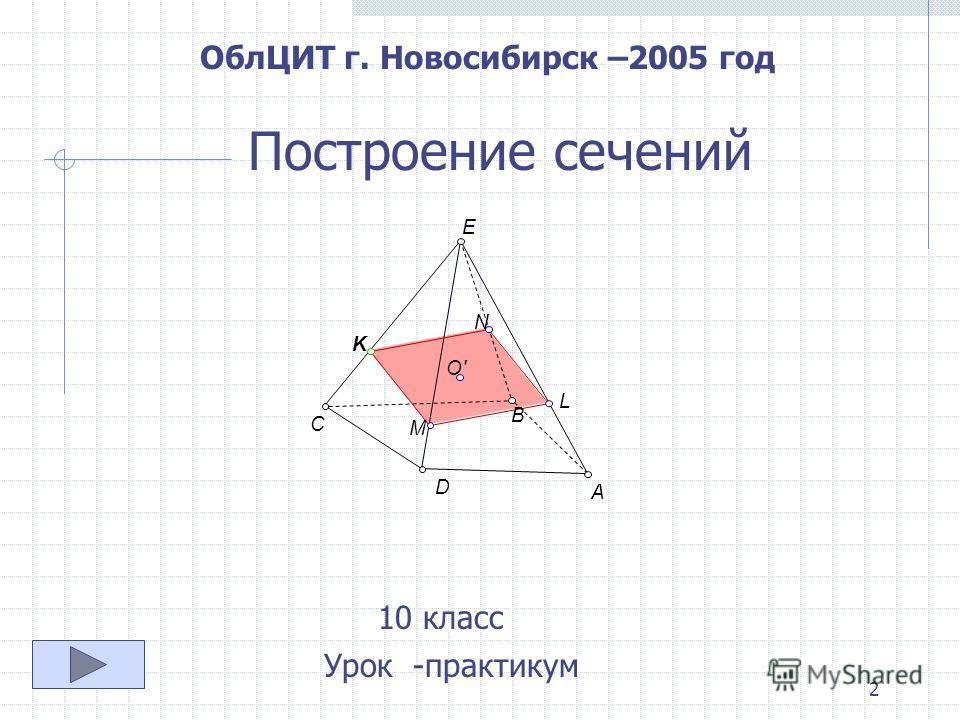 2 Построение сечений 10 класс Урок -практикум ОблЦИТ г. Новосибирск –2005 год E D B A C K L O' N M