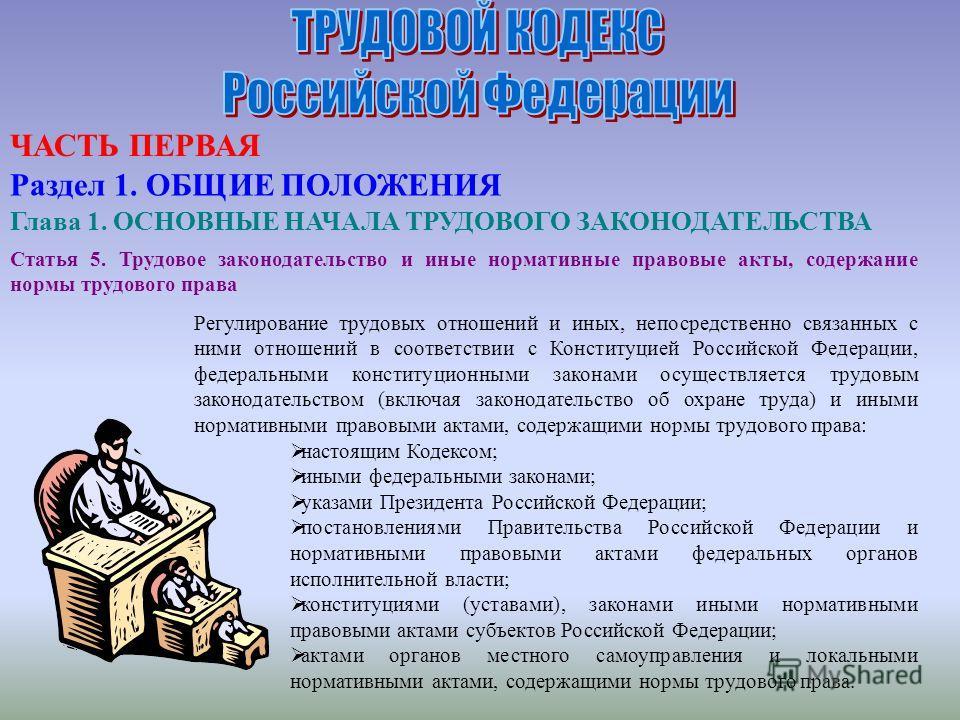 Статья 5. Трудовое законодательство и иные нормативные правовые акты, содержание нормы трудового права Регулирование трудовых отношений и иных, непосредственно связанных с ними отношений в соответствии с Конституцией Российской Федерации, федеральным