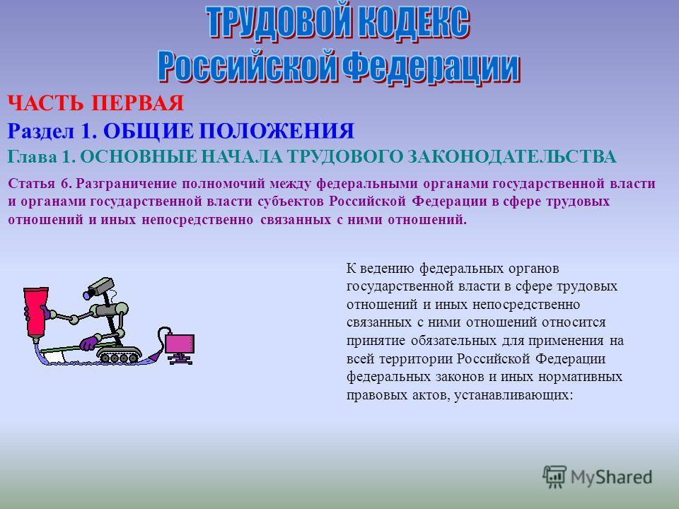 Статья 6. Разграничение полномочий между федеральными органами государственной власти и органами государственной власти субъектов Российской Федерации в сфере трудовых отношений и иных непосредственно связанных с ними отношений. К ведению федеральных