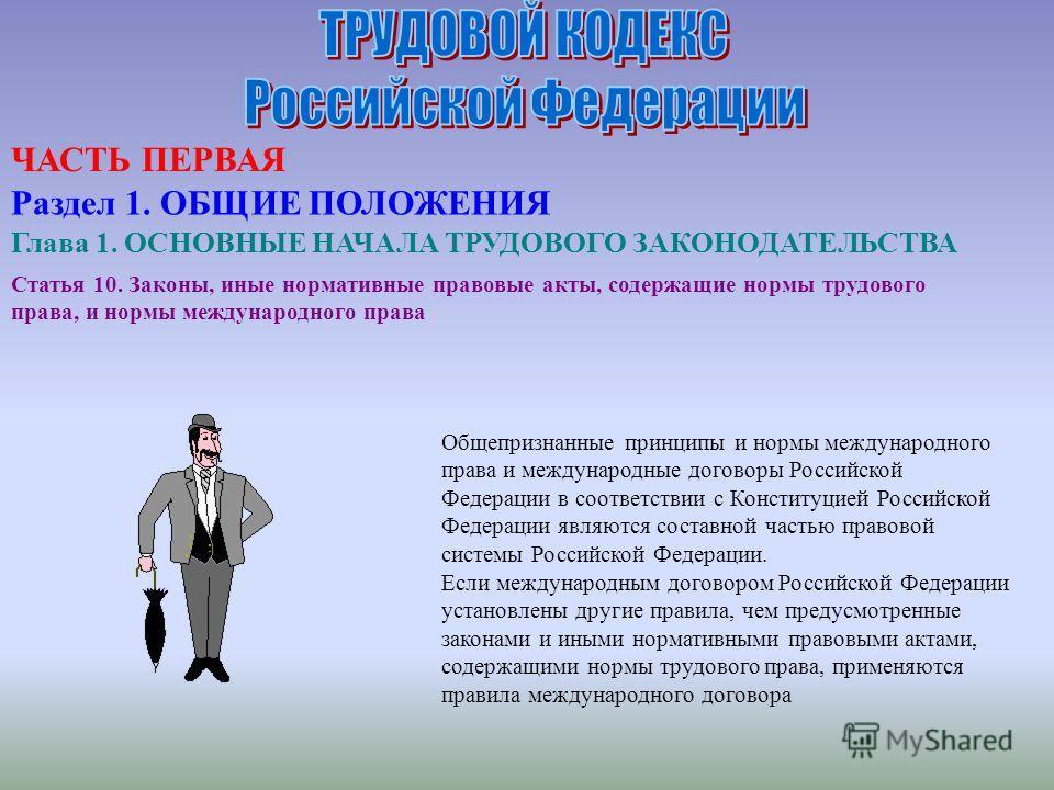 Статья 10. Законы, иные нормативные правовые акты, содержащие нормы трудового права, и нормы международного права Общепризнанные принципы и нормы международного права и международные договоры Российской Федерации в соответствии с Конституцией Российс